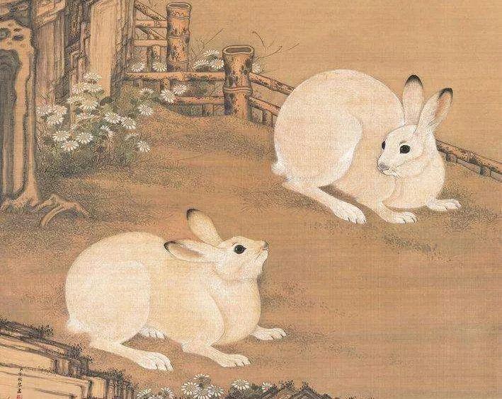 双兔写实,造型准确生动,皮毛以细笔一一画出,具有柔软的质感.